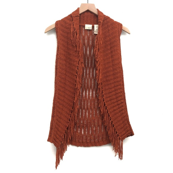 Daytrip Jackets & Blazers - Daytrip Orange Fringe Knit Vest Cardigan - Size S